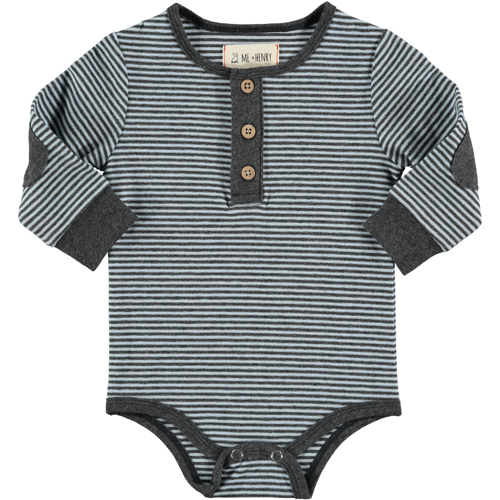 Light Blue & Gray Mini-stripe Henley Onesie