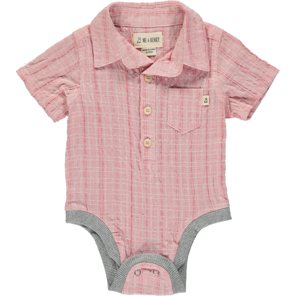 Pale Red Woven Collared Onesie