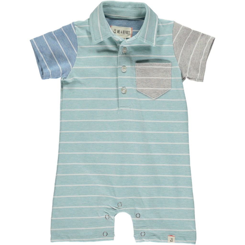 Me & Henry Turquoise Stripe Jersey Polo Romper