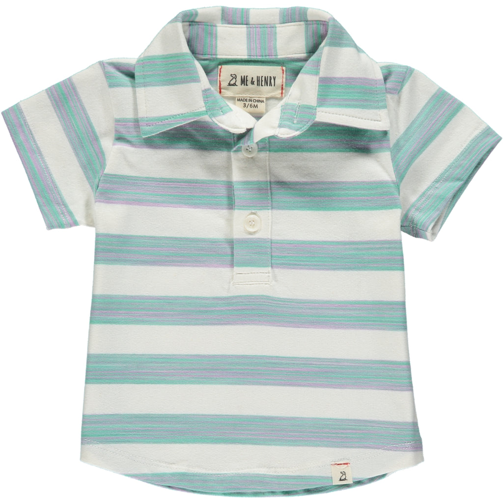 Green & Ivory Stripe Polo