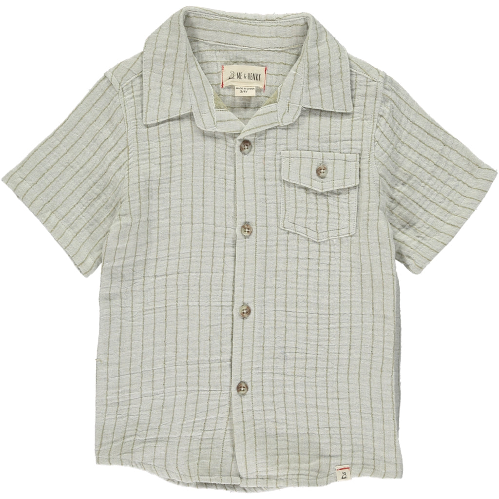 Me & Henry Khaki Gauze Button Down Shirt