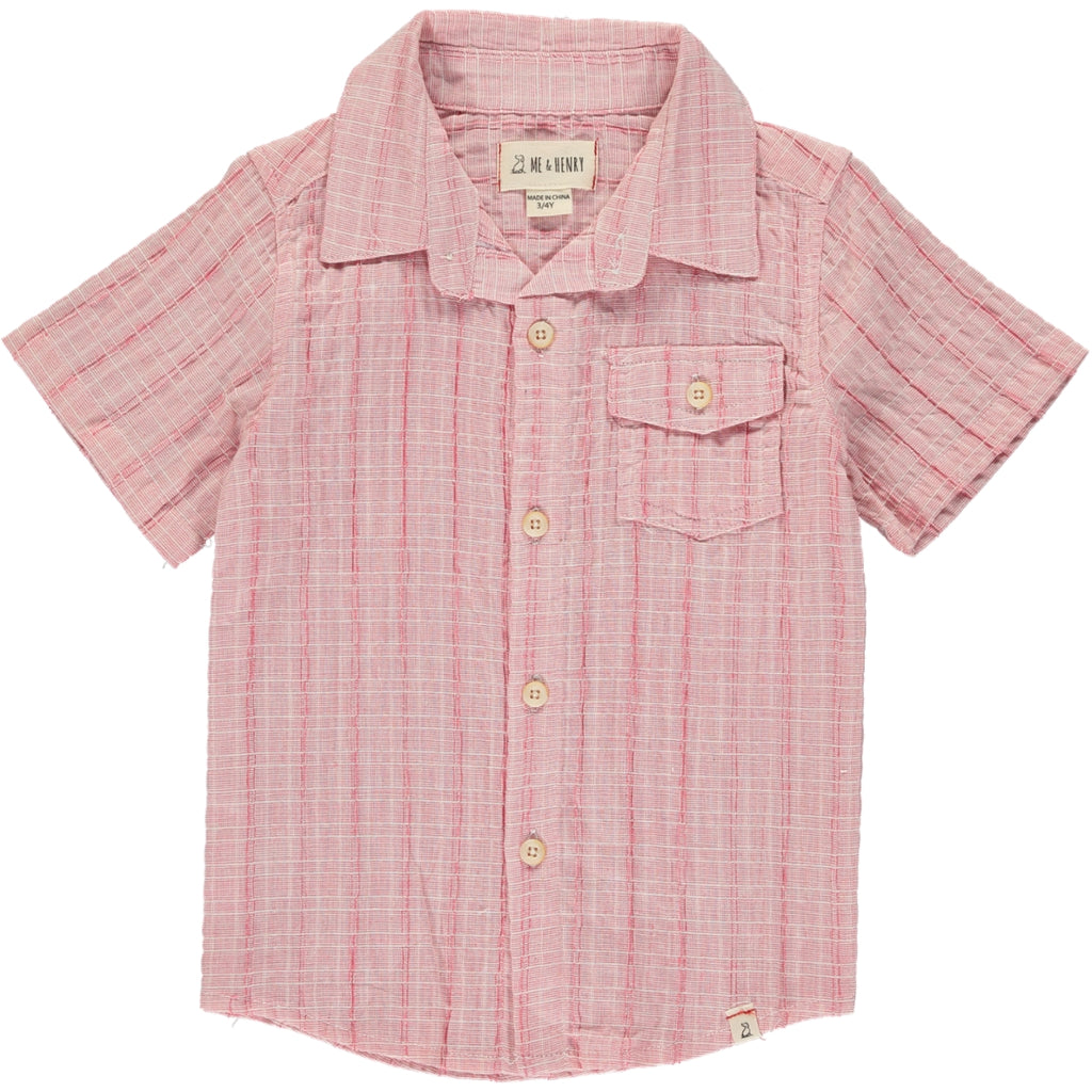 Pale Red Woven Collared S/S Shirt