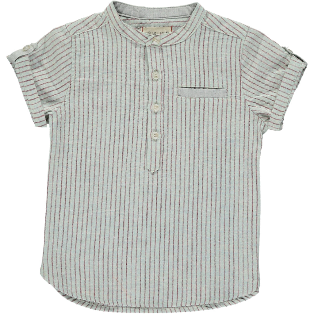 Red & Ivory Stripe Round Collar S/S Shirt