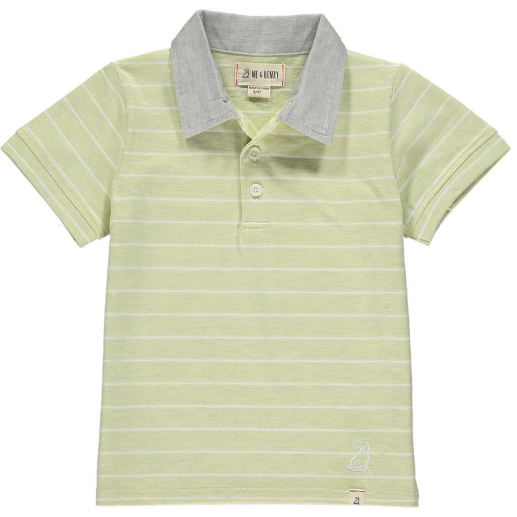 Grey Collar Lime & White Stripe Polo
