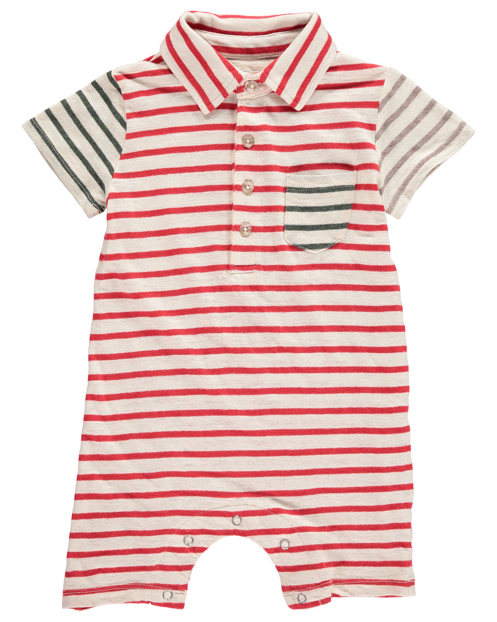 Red Multi-Stripe Polo Romper