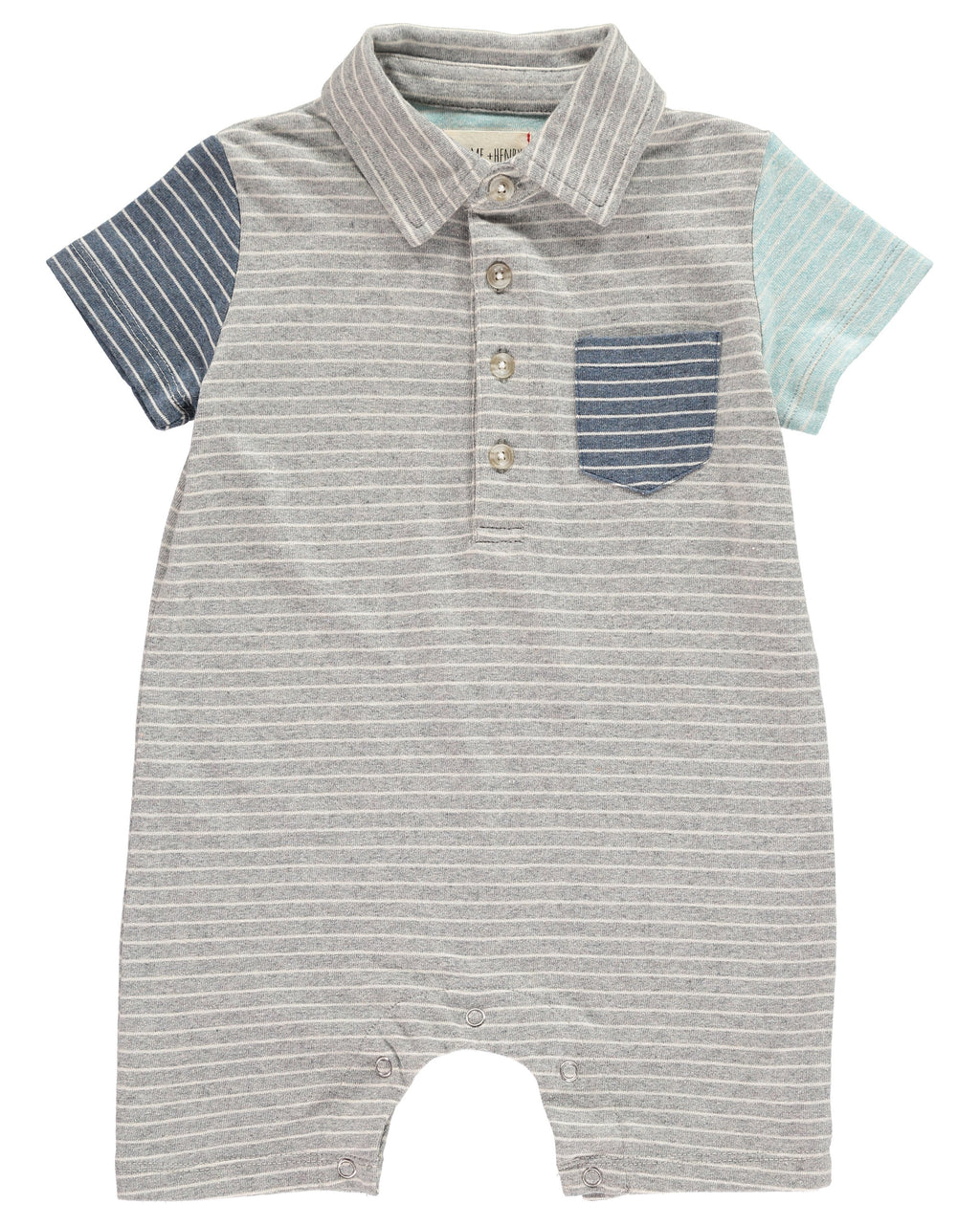 Grey Multi-Stripe Polo Romper