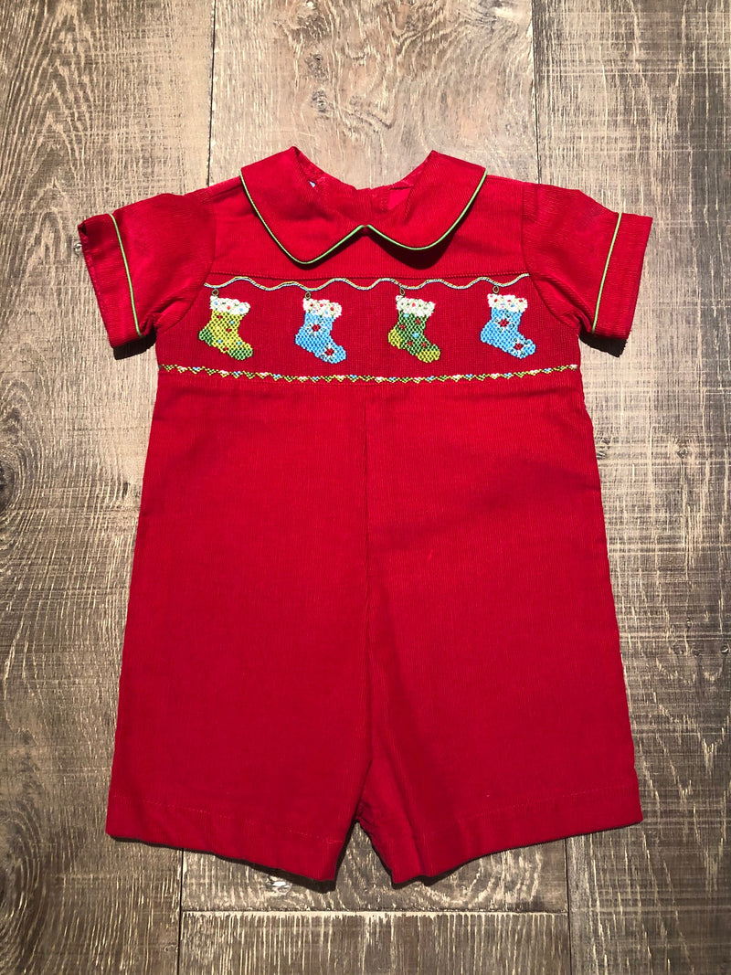 Stockings - Smocked Red Shortall
