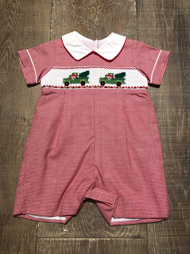 Trucks & Trees - Smocked Red Shortall