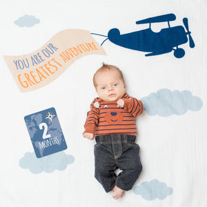 """Greatest Adventure"" Baby's 1st Year Blanket & Cards Set"