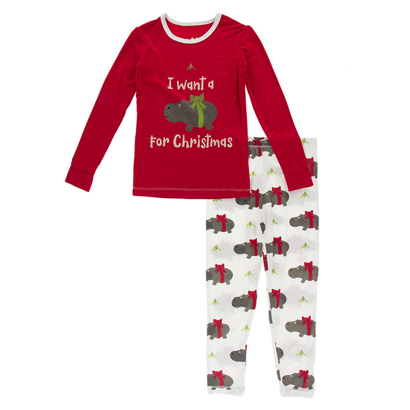 2 piece Pajama Set - Natural Christmas Hippo