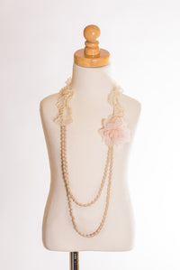 Elastic Floral Lace/Pearl Necklace by ML Fashions Inc.