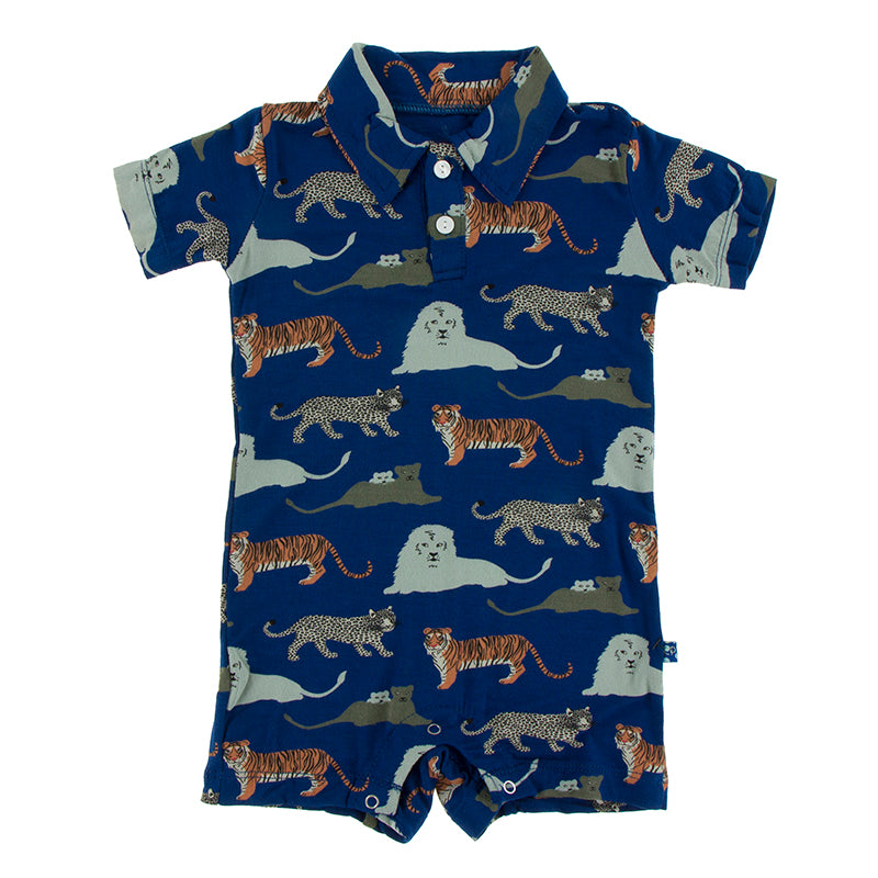 KicKee Pants - Short Sleeve Polo Romper - Flag Blue Big Cats