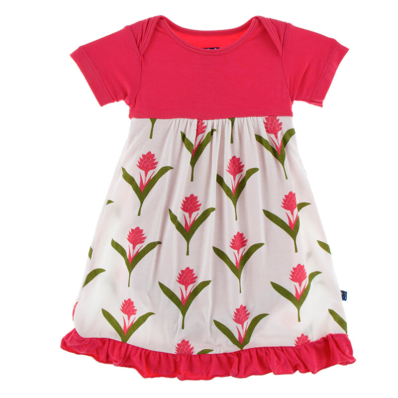 Red Ginger Flowers Dress Romper