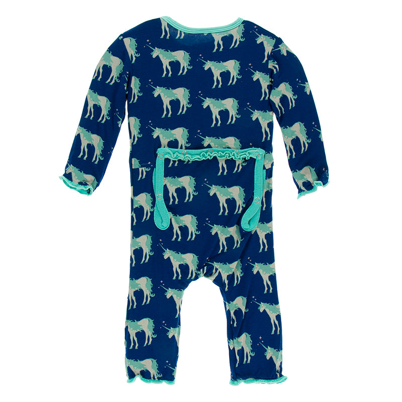 KicKee Pants - Muffin Ruffle Coverall - Flag Blue Unicorns