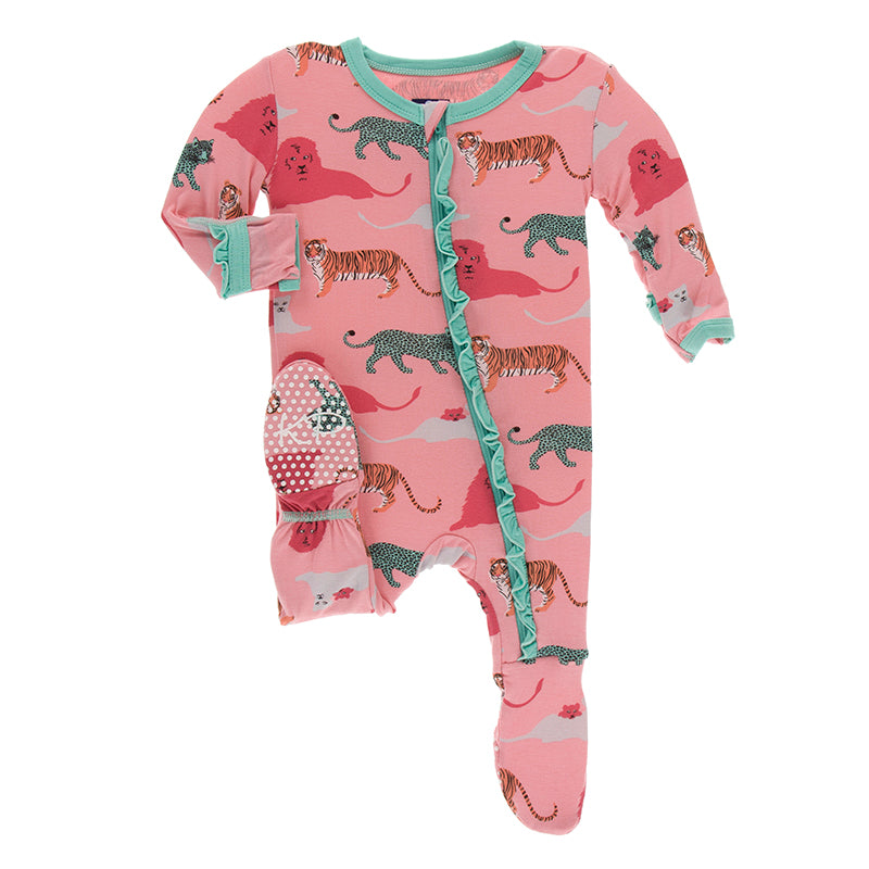 KicKee Pants - Classic Ruffle Footie with Zipper - Strawberry Big Cats