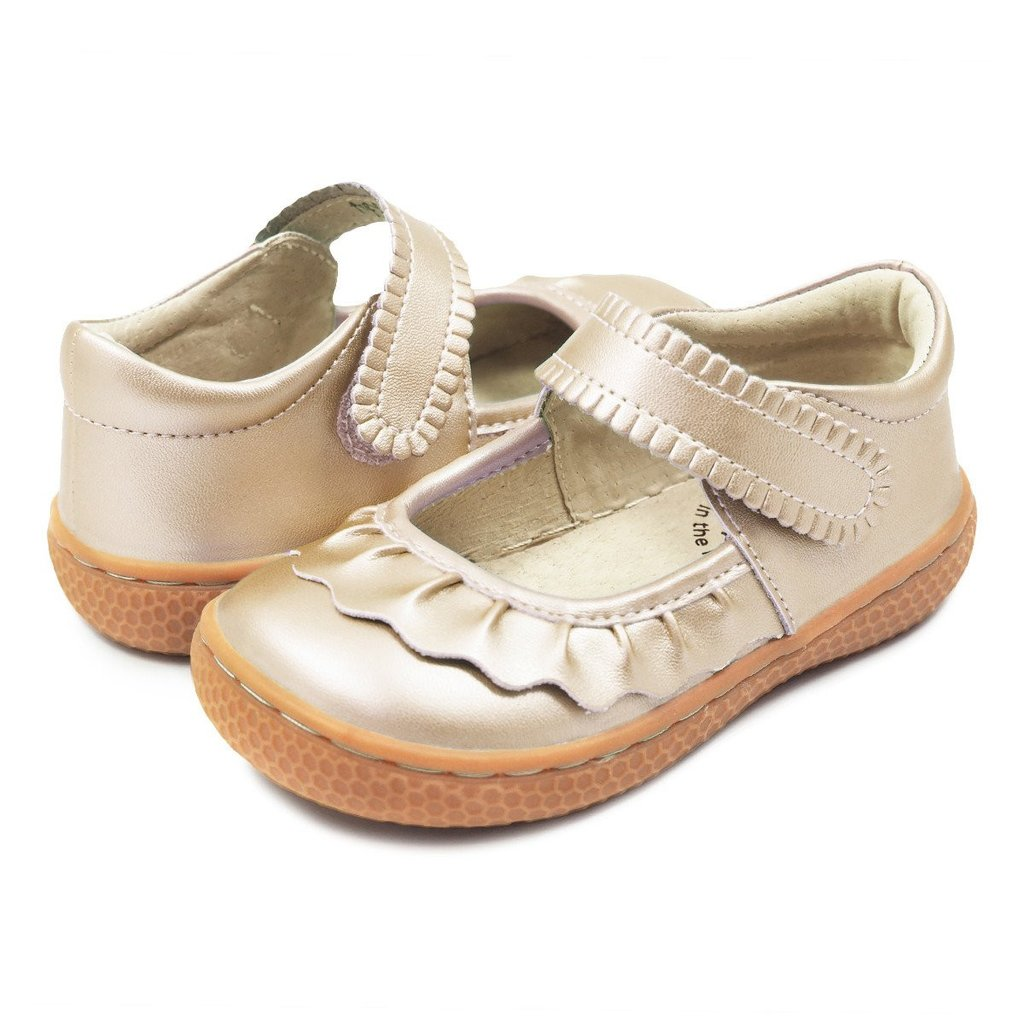 Ruche Mary Janes in Champagne by Livie & Luca