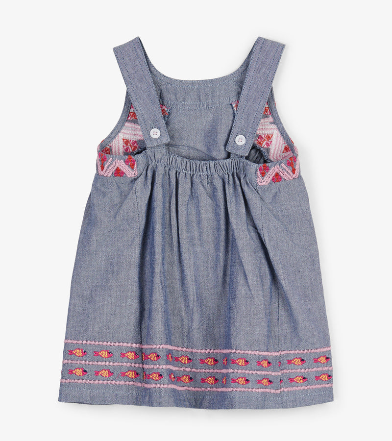Embroidered Chambray Gathered Baby Dress