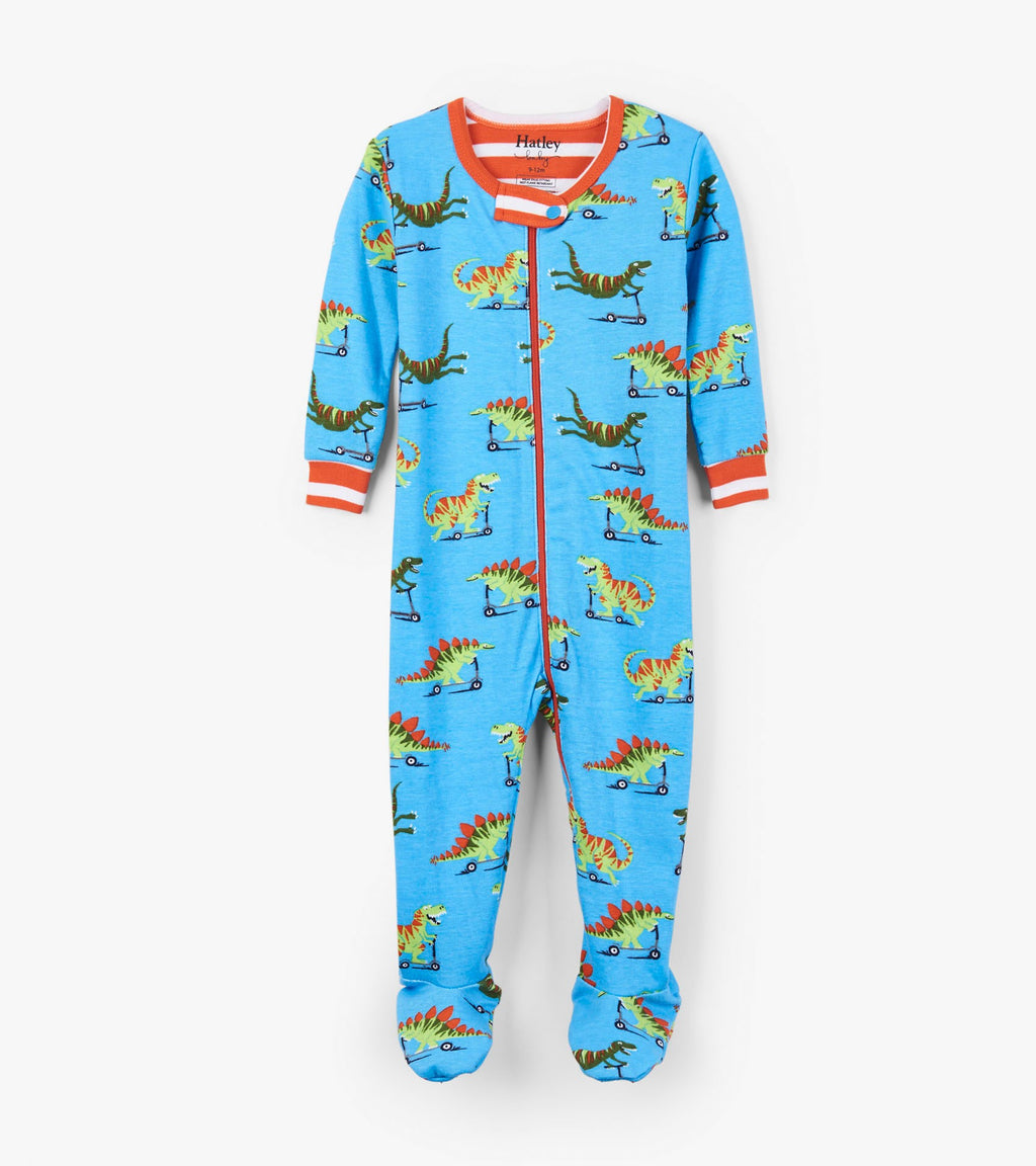 Scooting Dinos Organic Cotton Footed Coverall