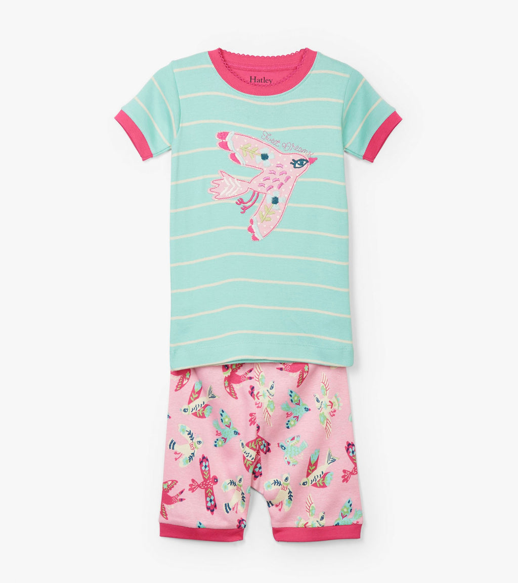Soaring Birdies Appliqué Organic Cotton Short Pajama Set