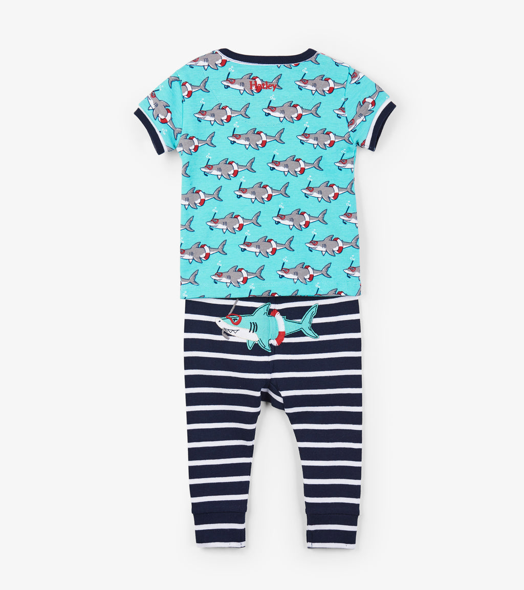 Snorkeling Sharks Organic Cotton Baby Pajama Set