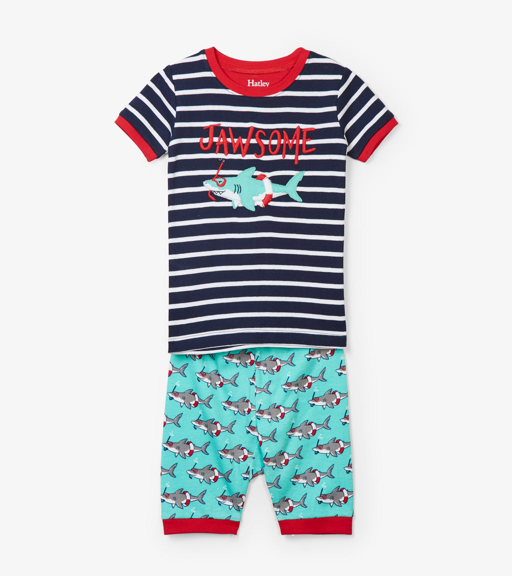 Hatley Snorkeling Sharks Appliqué Organic Cotton Short Pajama Set front
