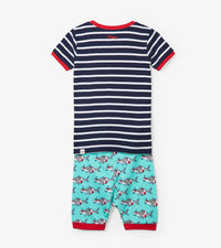 Hatley Snorkeling Sharks Appliqué Organic Cotton Short Pajama Set back