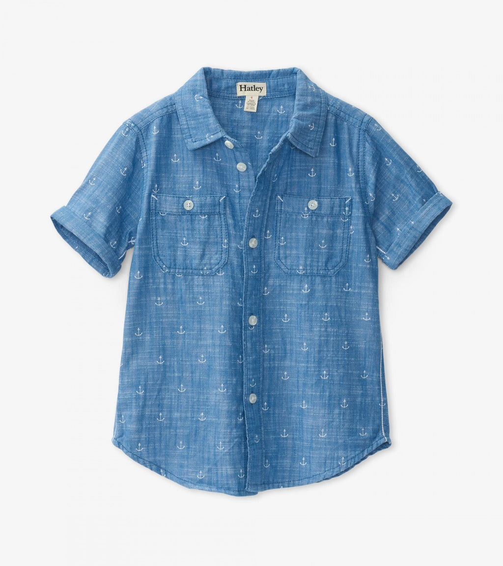 Chambray Anchors Short Sleeve Button Down Shirt