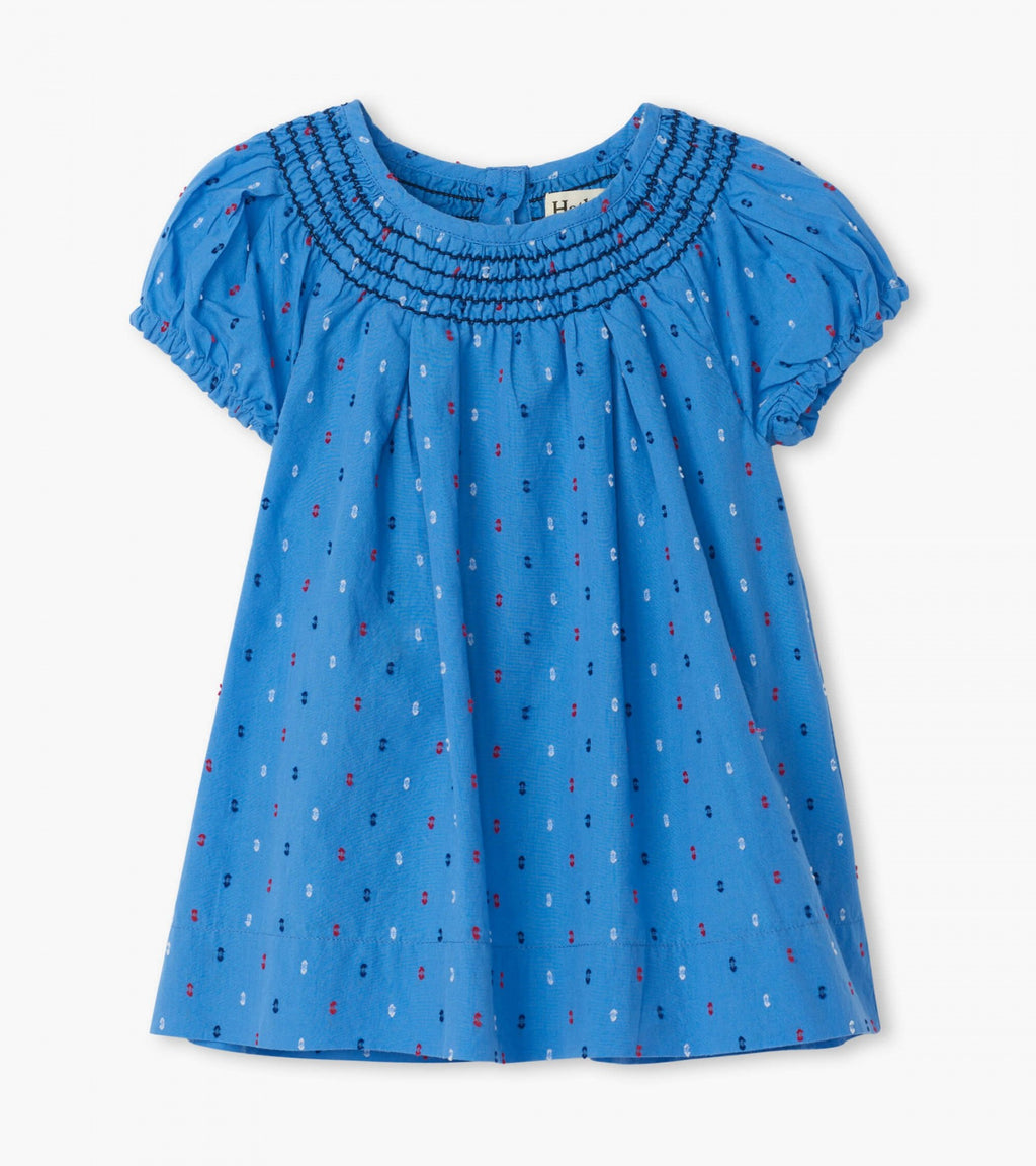 Nautical Swiss Dots Baby Smocked Dress