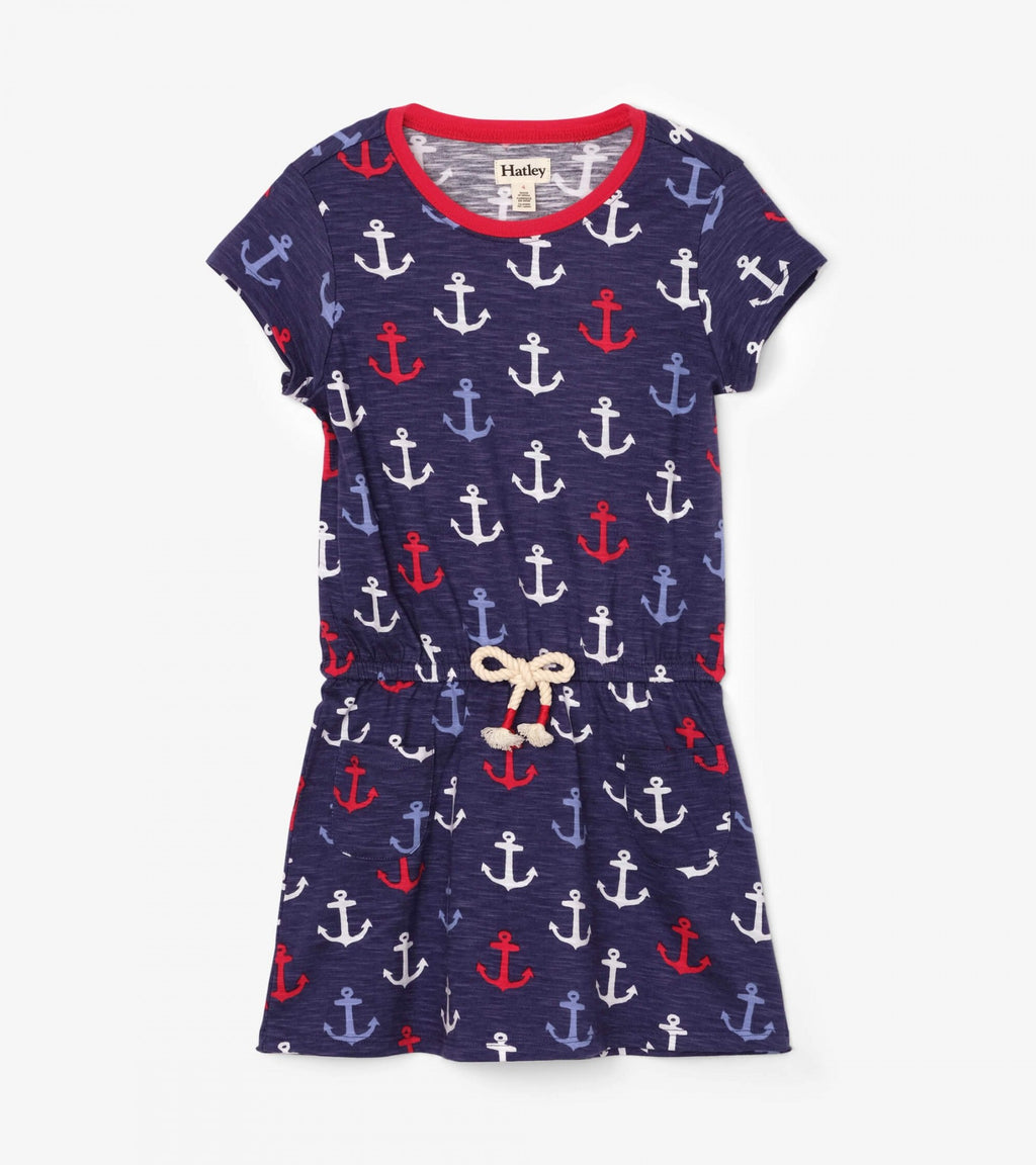 Nautical Anchors Front Pocket Drop Waist Dress