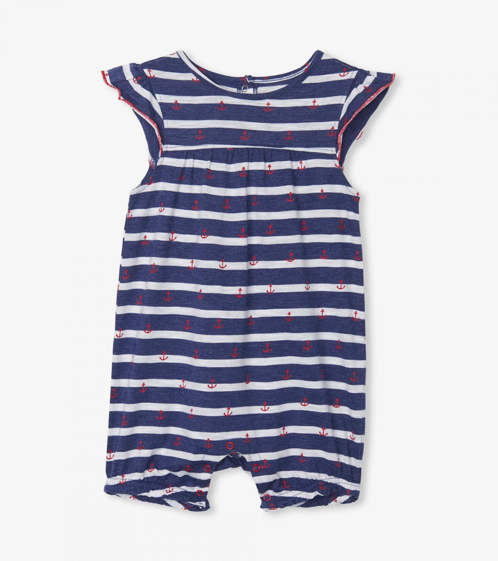 Nautical Stripe Baby Flutter Sleeve Romper