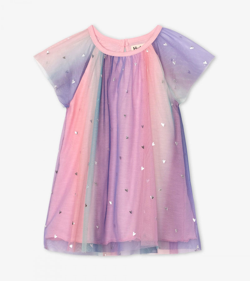 Metallic Hearts Baby Rainbow Tulle Dress