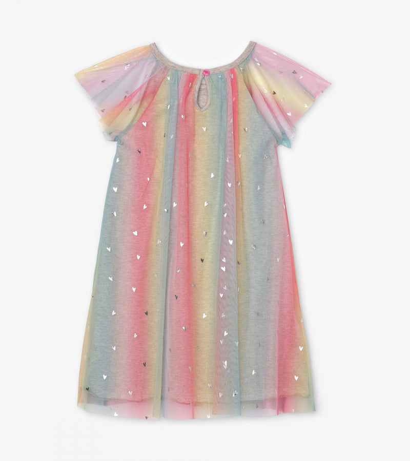 Metallic Hearts Rainbow Tulle Dress