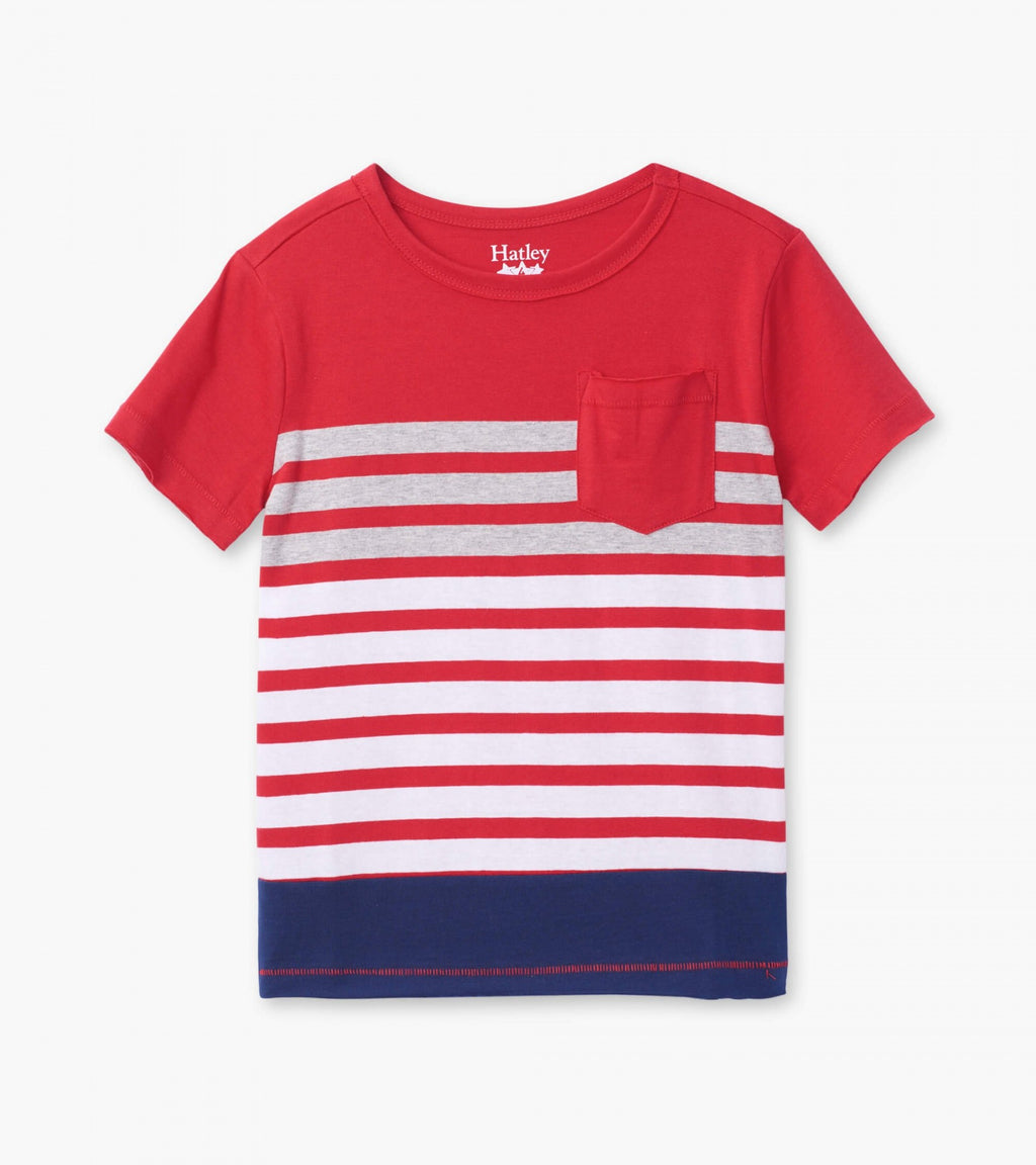 Sunset Stripe Graphic Front Pocket Tee