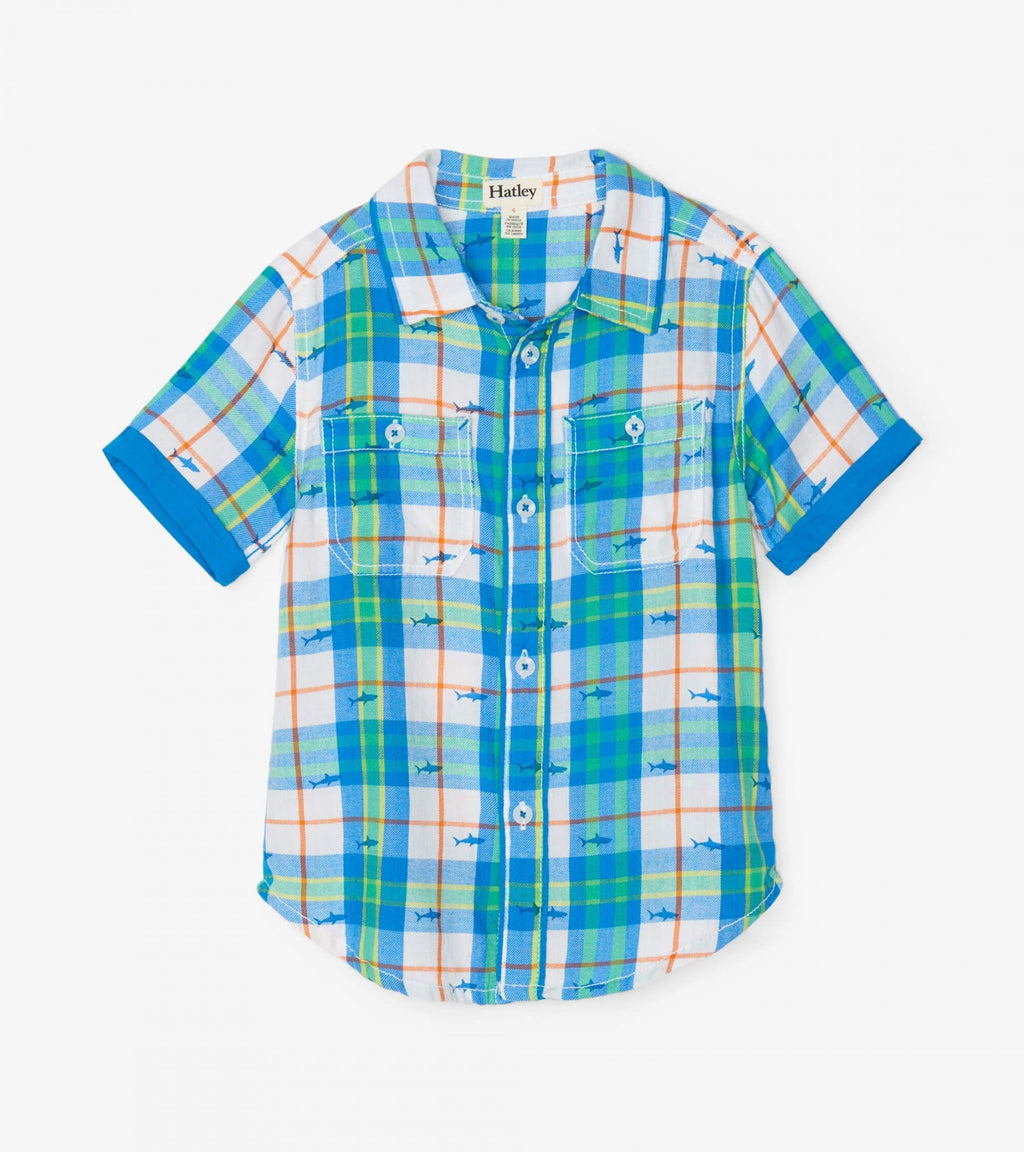 Shark Plaid Button Down Shirt