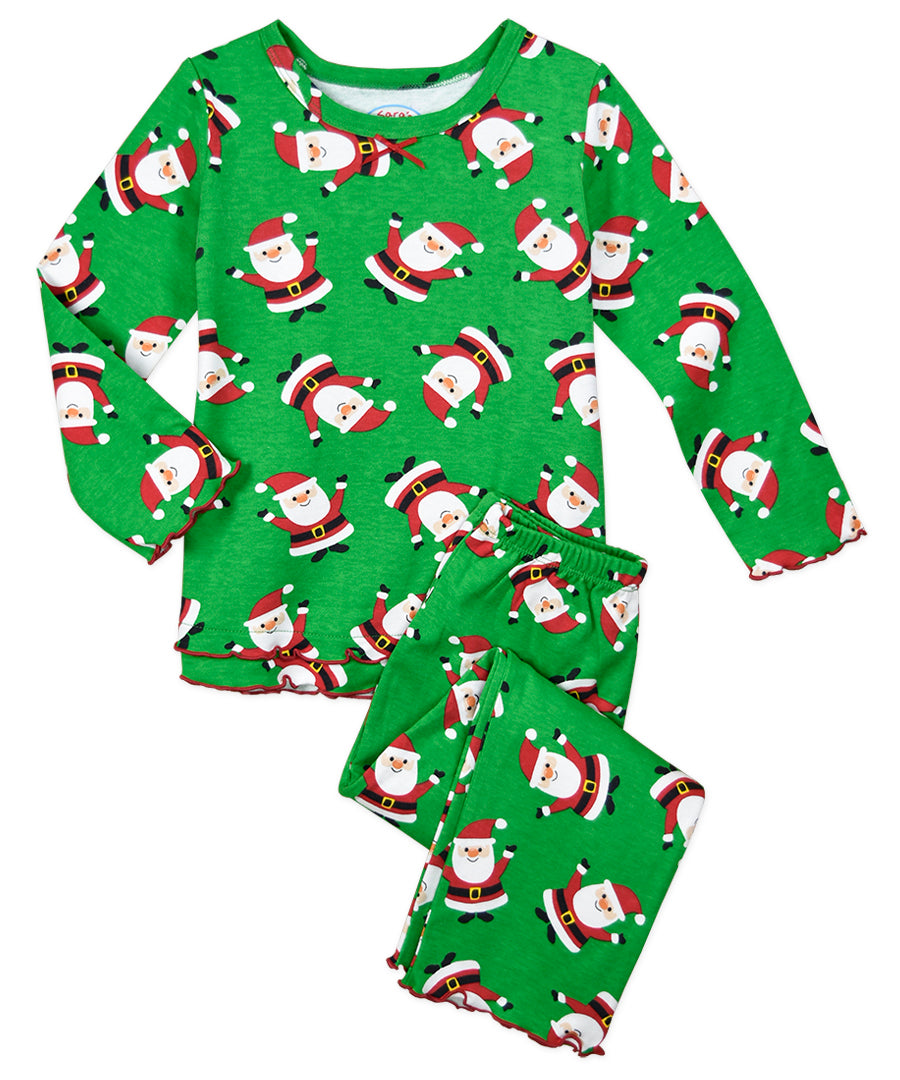 Sara's Prints Hooray Santa Ruffle Long Sleeve Pajamas