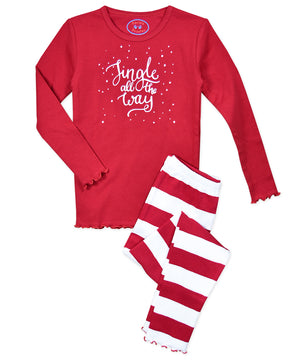 Sara's Prints Jingle All the Way Sparkle Ruffle Long Sleeve Pajamas