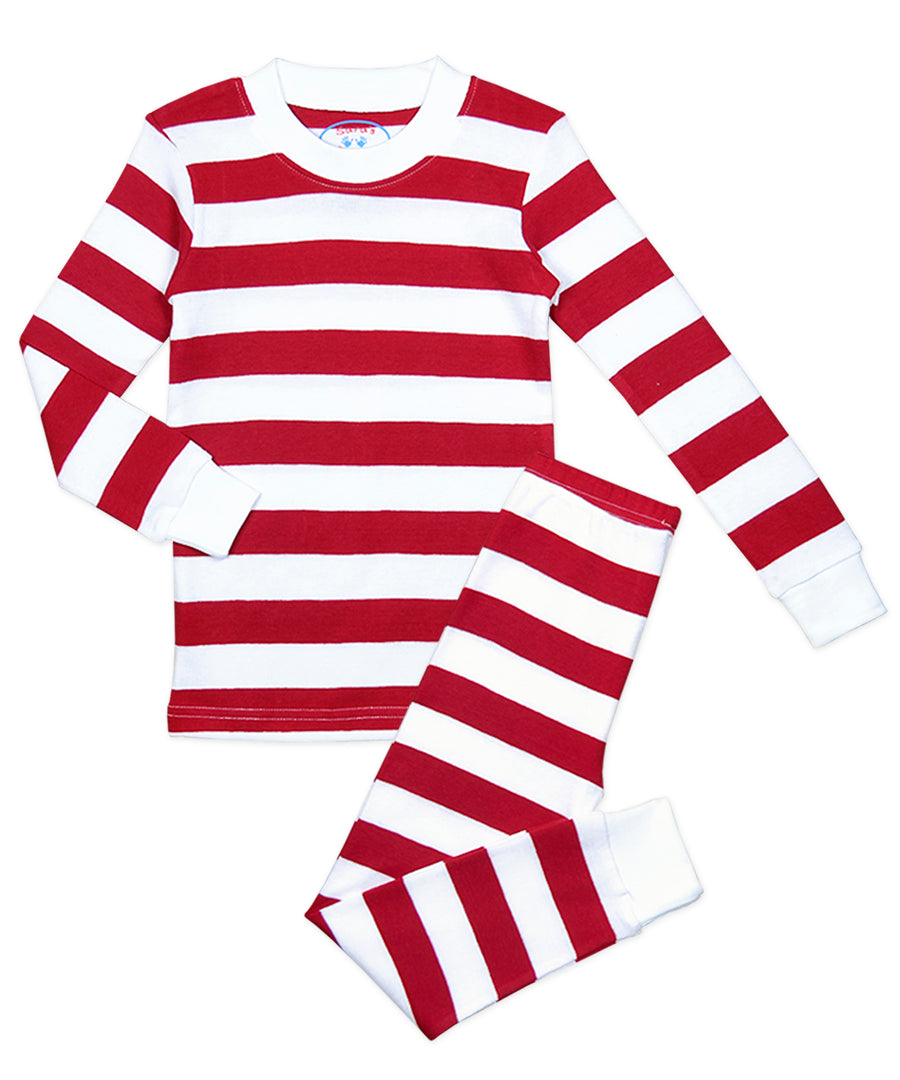 Sara's Prints Red & White Stripe 2 Piece Pajama Set
