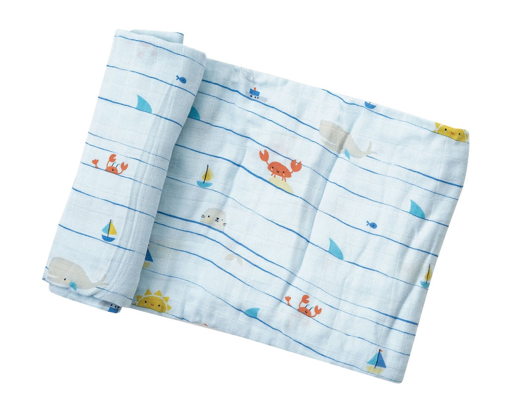Sea Stripes Swaddle Blanket
