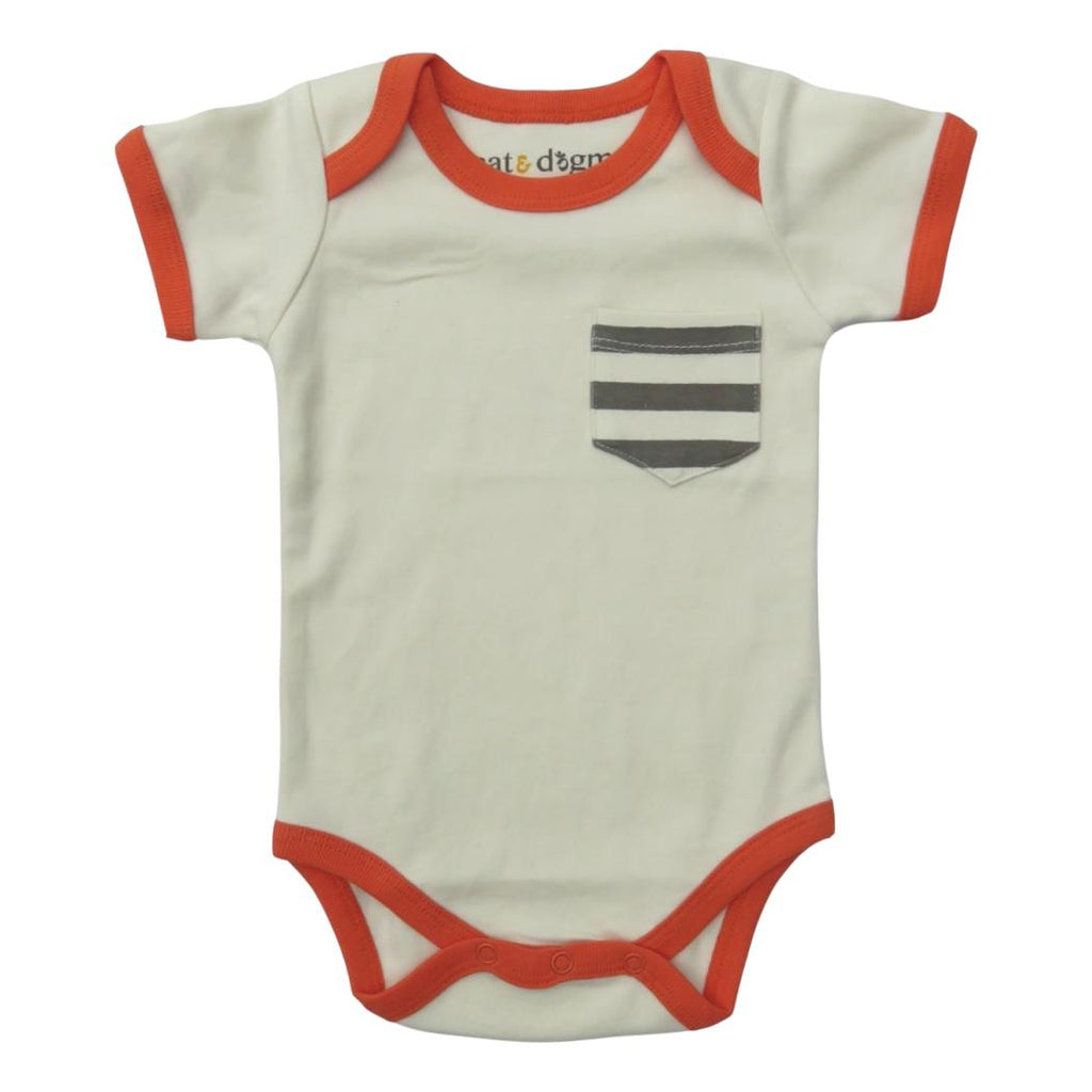Orange & Grey Stripe Pocket Bodysuit