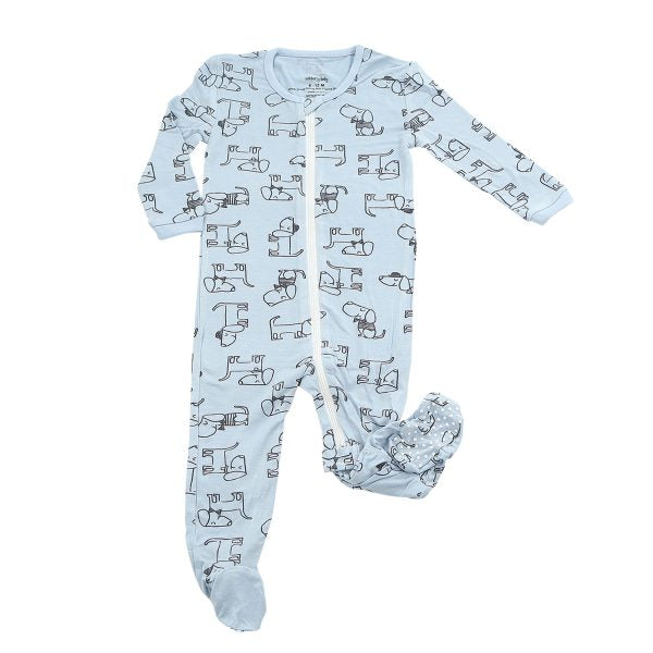 Bamboo Printed Footies in Periwinkle Dog Print by SilkBerry