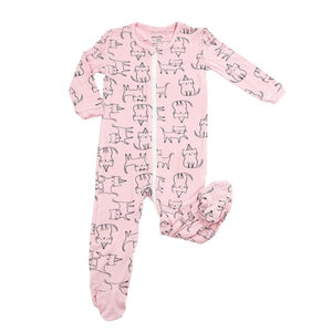 Bamboo Footies in Pink Cat Print by Silkberry