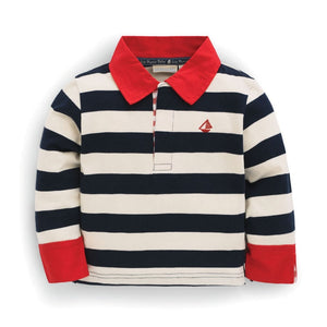 Navy & Ecru Striped Rugby Top