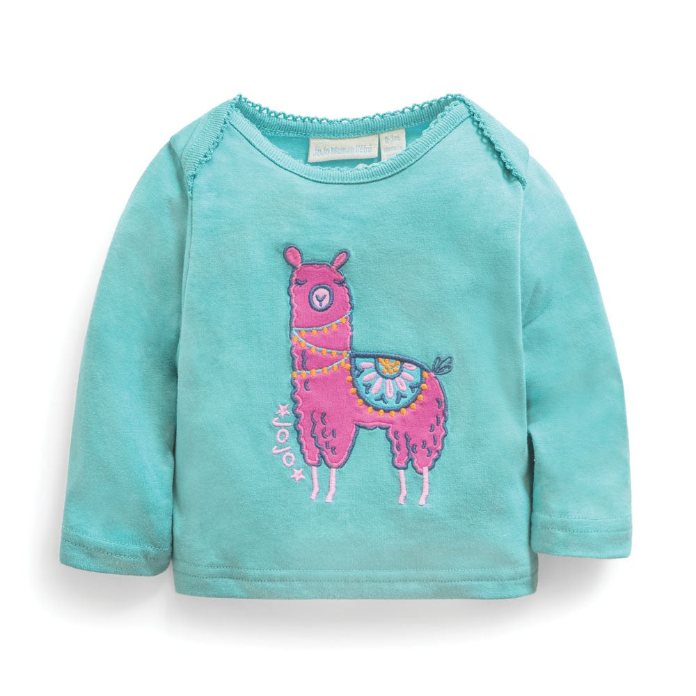 Llama Baby Top on Duck Egg Blue