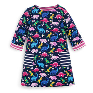 Dinosaur A-Line Dress on Navy