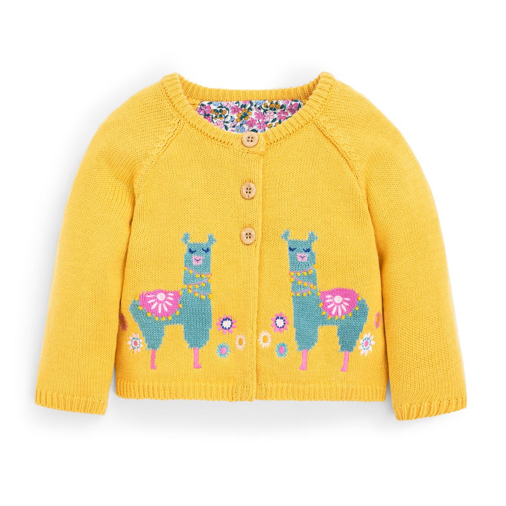 Llama Cardigan on Mustard Yellow