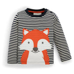 Fox Shirt on Navy Ecru Stripe