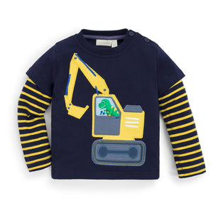 Dino Digger Shirt on Navy Blue