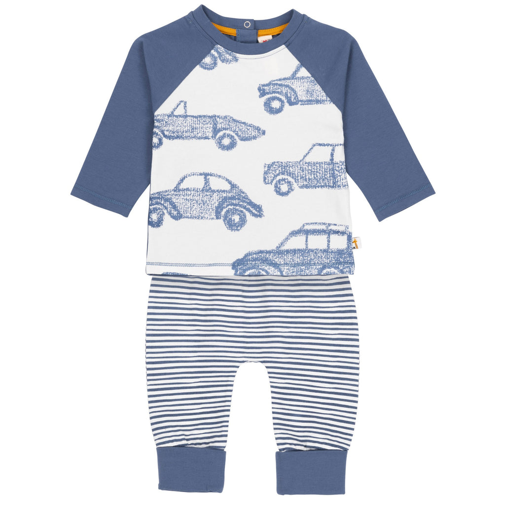 Blue Car Raglan Top & Striped Pants