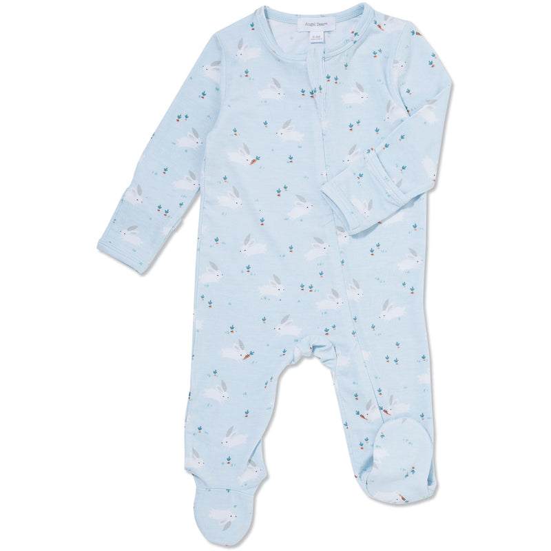 Blue Baby Bunnies Bamboo Zipper Footie