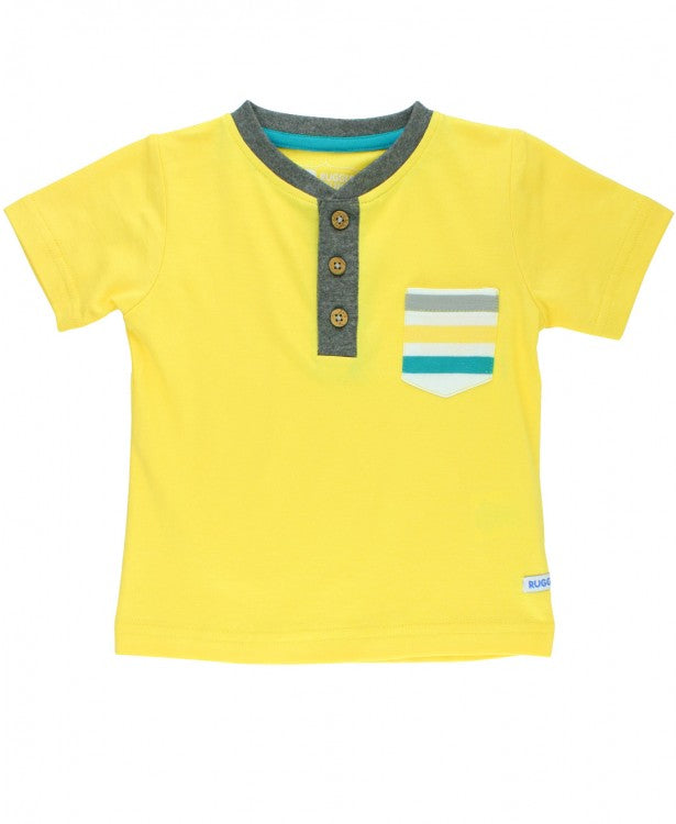 Yellow Pocket Henley Shirt